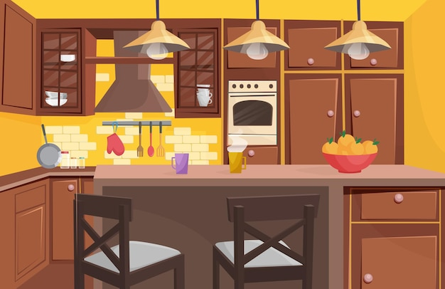 Traditional classic wooden kitchen interior flat cartoon game style vector