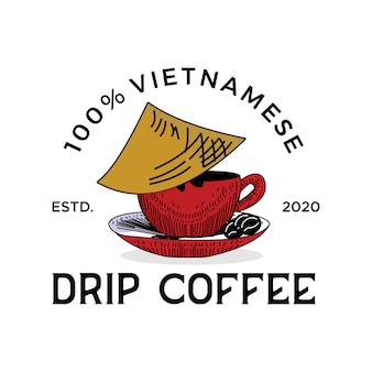 Traditional coffe from vietnam vintage logo