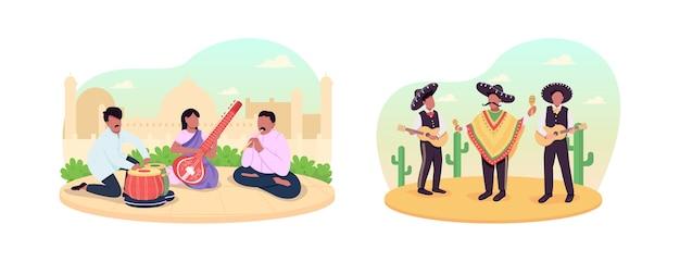 Традиционная культурная музыка 2d веб-баннер, набор плакатов. мексиканские и индийские музыканты плоские персонажи на фоне мультфильмов. патч для печати street performance, красочная коллекция веб-элементов