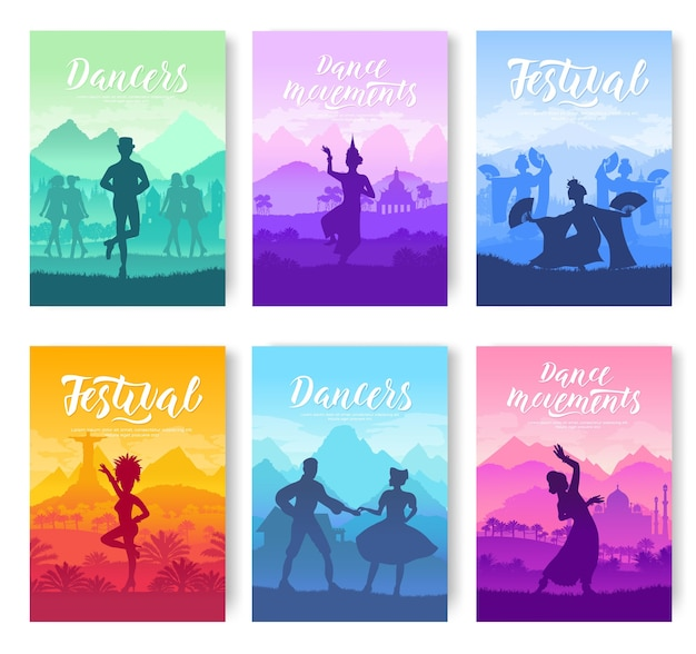 Traditional dances from all over world cards set. cultural dancer styles template of flyear,poster.