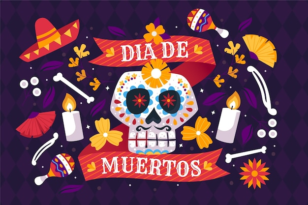 Traditional dia de muertos background