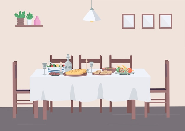 Traditional dinner at home flat color illustration