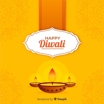 Traditional diwali background with flat design