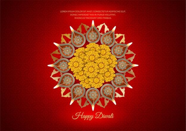 ランプと花の伝統的なディワリ祭のコンセプト