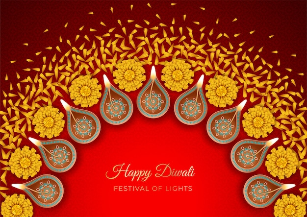 Traditional diwali festival background with burning diya lamps and flowers