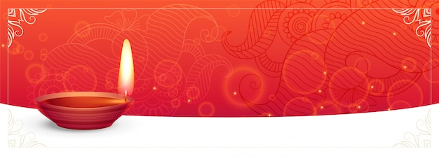 Traditional diwali festival banner with text space