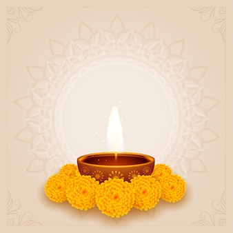 Traditional diwali puja background with diya and flower