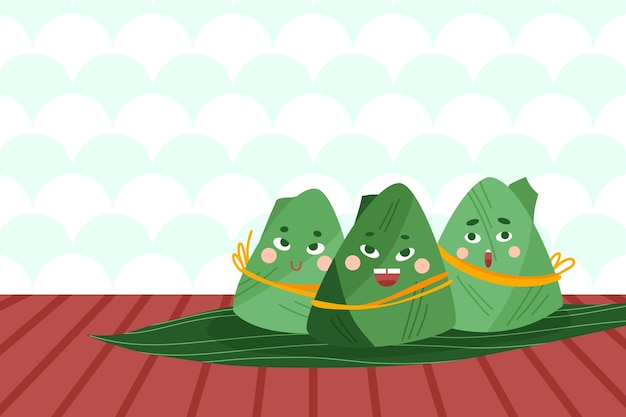 Traditional dragon boat's zongzi background