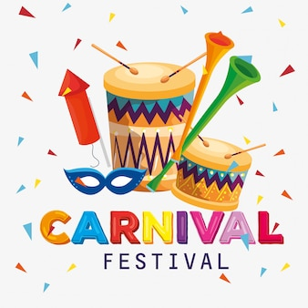 Traditional drum with trumpet and mask to carnival festival