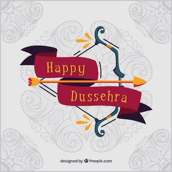 Traditional dussehra composition with flat design