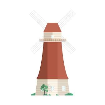 전통적인 네덜란드 풍차 흰색 배경에 고립입니다. 작업복, 타워 또는 포스트 밀. 회전하는 돛 또는 블레이드가있는 농업용 건물 또는 건축. 평면 만화 스타일의 그림입니다.