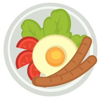 Traditional english breakfast consisting of fried egg and boiled sausages. meat and vegetables, tomatoes slices and salad leaves in plate. lunch or dinner in restaurant. vector in flat style