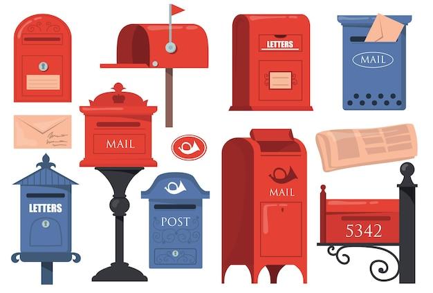 전통적인 영어 레터 박스 세트. 빨간색과 파란색 빈티지 사서함, 흰색 배경에 고립 된 편지와 함께 오래 된 우편함.