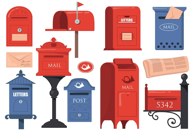 Traditional english letterboxes set. red and blue vintage mailboxes, old postboxes with letters isolated on white background.