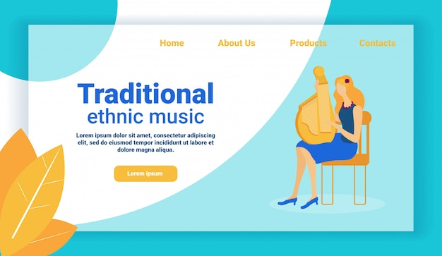 Traditional ethnic music web design, girl playing.