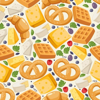Traditional european food seamless pattern,  illustration. wrapping paper print design, delicious pastry and dairy product. freshly baked pretzel, waffle, croissant and cheese