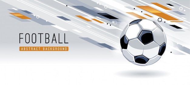 Traditional european soccer ball on dynamic abstract background with copy space. soccer banner vector template.