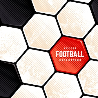 Traditional european soccer ball weathered surface background. vector football grunge background.