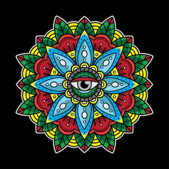 Traditional eyes mandala tattoo