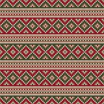 伝統的なフェアアイルスタイルのニットパターン。クリスマスと新年のセーターのデザイン。冬の休日の編み物のシームレスな背景。