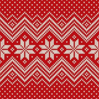 伝統的なフェアアイルスタイルの編み物パターン。冬休みのシームレスニットセーターのデザイン。