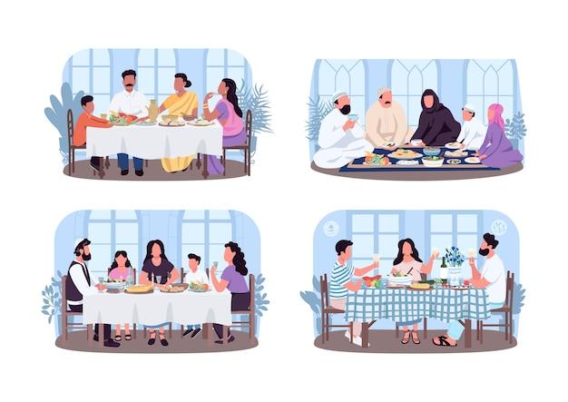 전통적인 가족 저녁 식사 2d 웹 배너, 포스터 세트. 만화 배경에 다문화 평면 문자입니다. 문화 다양성 인쇄 가능한 패치, 다채로운 웹 요소 컬렉션