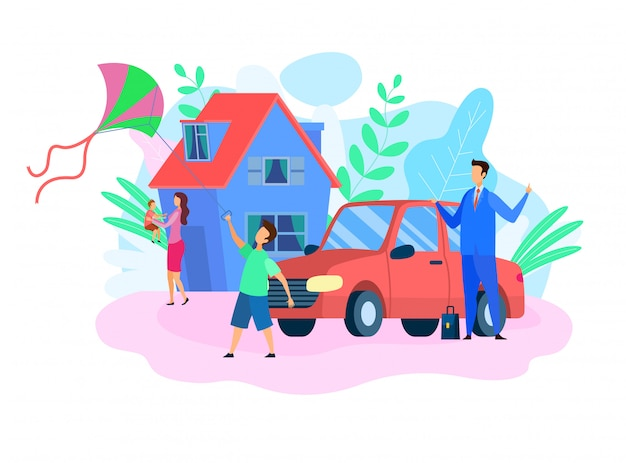 Traditional family values flat vector illustration