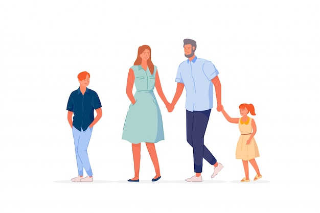 흰색 배경에 걷는 전통적인 가족
