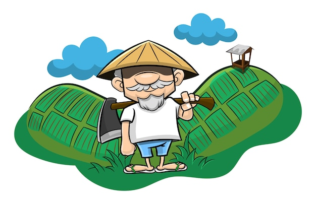 Traditional farmer standing on rice fields view cartoon