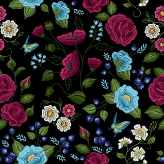 Traditional floral folk style embroidery seamless pattern
