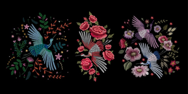 Traditional folk stylish floral embroidery.
