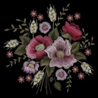 검은 배경에 전통적인 민속 세련된 세련된 꽃 자수