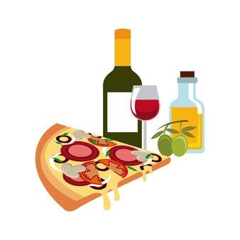 Значок традиционной пищи. италия дизайн культуры. векторная графика