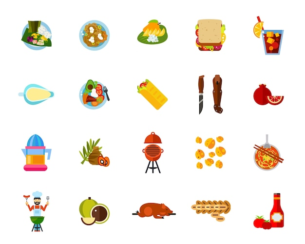 Traditional food icon set