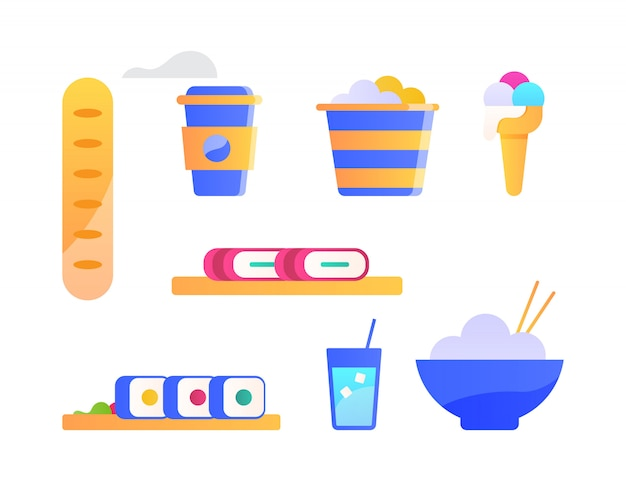 Traditional food icons set