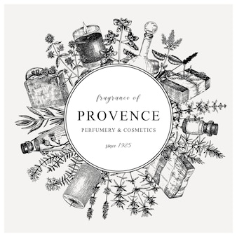 Traditional french herbs wreath in vintage style provence design template