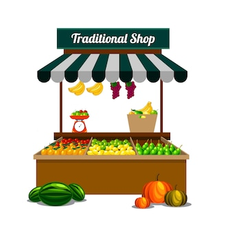 Traditional fruit shop on vector