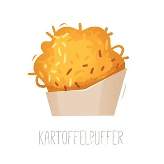 Традиционный немецкий жареный картофельный блинчик kartoffelpuffer изолированное векторное изображение