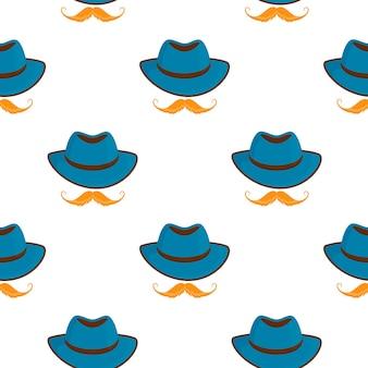 전통적인 독일 빈티지 모자와 콧수염입니다. 옥토버페스트 완벽 한 패턴입니다.