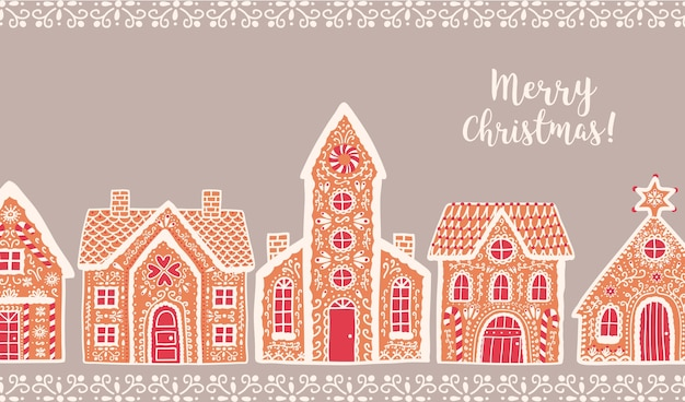 Traditional gingerbread houses and merry christmas lettering