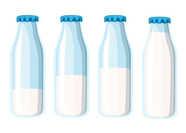 伝統的なガラスの牛乳瓶。 4つの牛乳瓶のテンプレート。白い背景のイラスト。