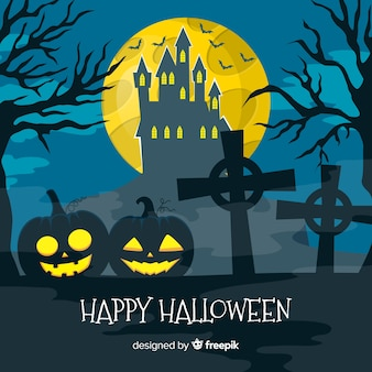 Traditional halloween background with cemetery and pumpkins
