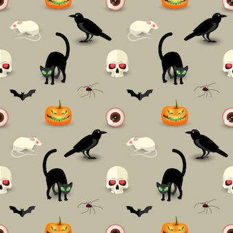 Traditional halloween seamless pattern with skull black cat raven bat spider pumpkin rat human eye