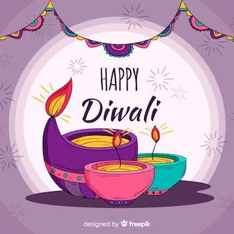 Traditional hand drawn diwali background