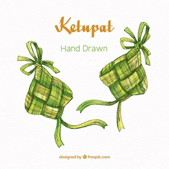 Traditional hand drawn ketupat composition
