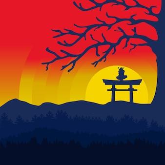 Традиционный рисованный фон воина ниндзя