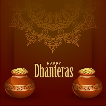 Traditional happy dhanteras background with golden coins pot