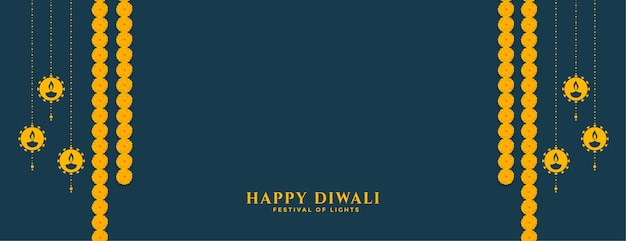 Traditional happy diwali banner with diya and flower decoration