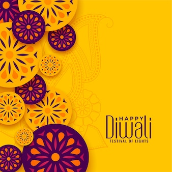 Traditional happy diwali festival yellow greeting
