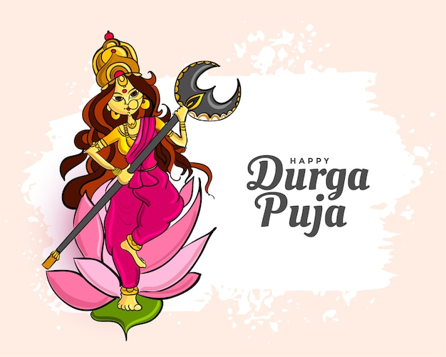 Traditional happy durga pooja festival greeting card